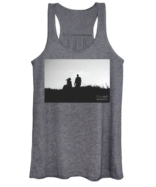 Silhouette Of Couple In Love With Wedding Couple On Top Of A Hill Women's Tank Top