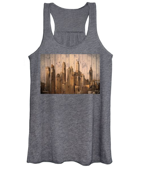 Skyline Of Dubai, Uae On Wood Women's Tank Top