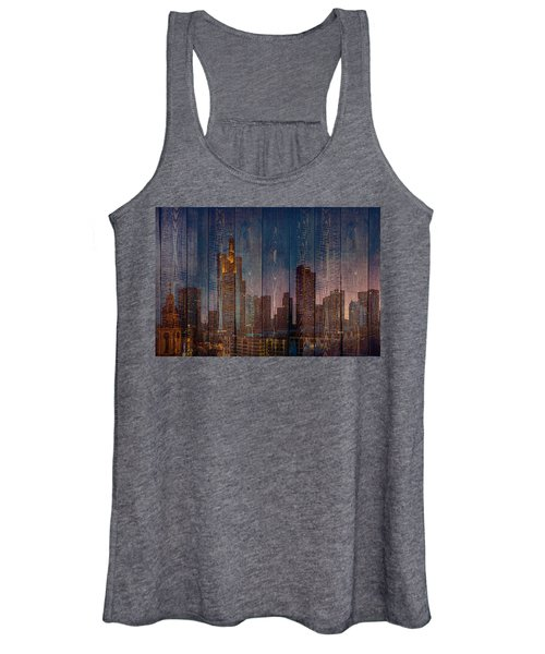 Skyline Of Frankfurt, Germany On Wood Women's Tank Top