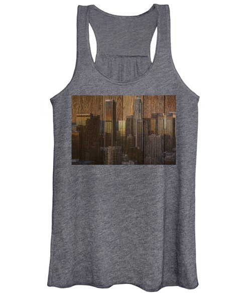 Skyline Of Los Angeles, Usa On Wood Women's Tank Top
