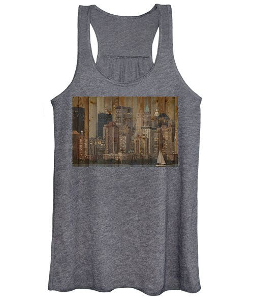 Skyline Of New York, Usa On Wood Women's Tank Top