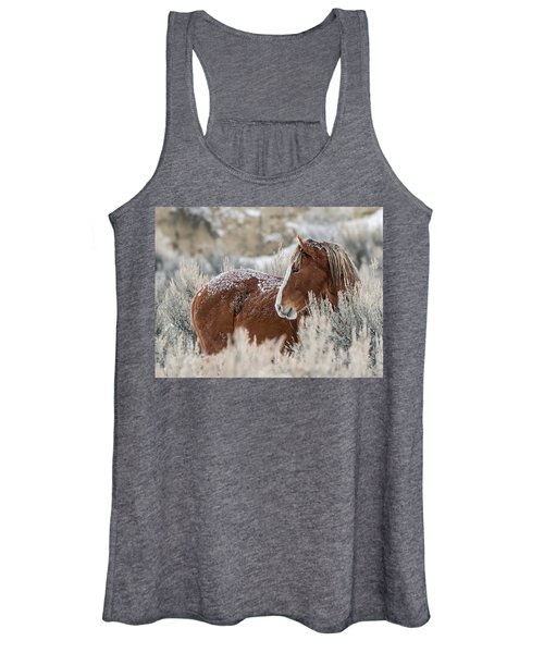 Snow Dusted Mustang Stallion Women's Tank Top