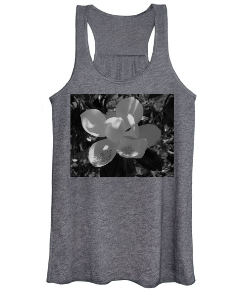 Southern Magnolia In Black And White Women's Tank Top
