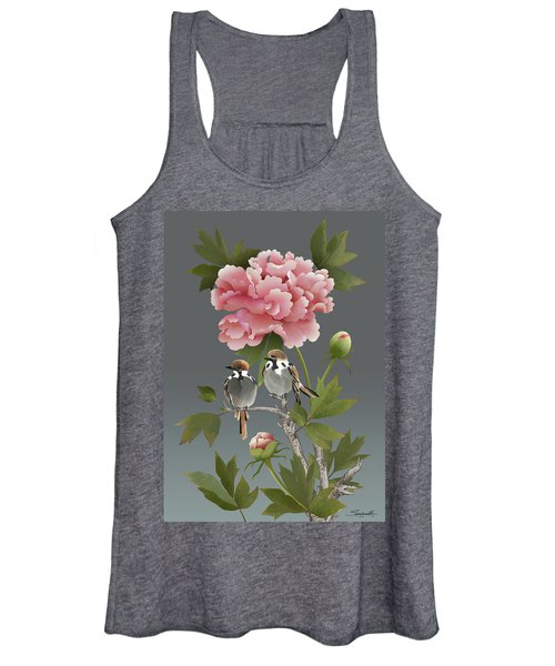 Sparrows And Peony Women's Tank Top
