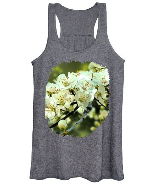 Spring Blossom Ornamental Illustration Green Women's Tank Top