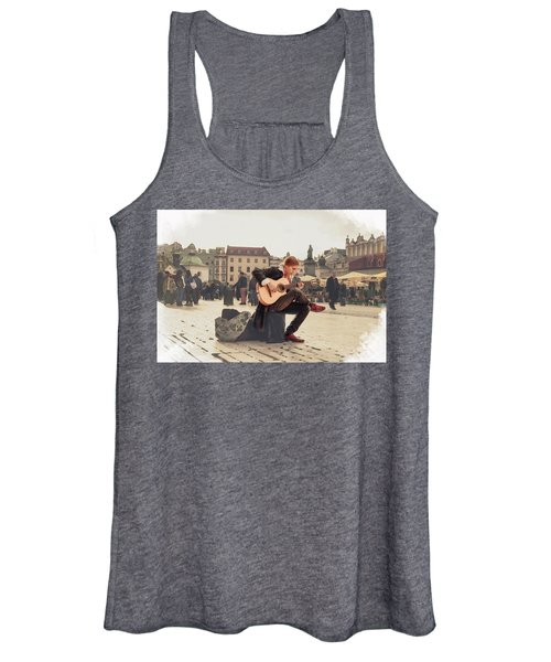 Street Music. Guitar. Women's Tank Top
