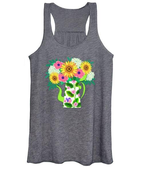 Summer Flowers In Coffee Pot Women's Tank Top