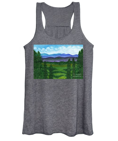 Women's Tank Top featuring the painting View From A Mountain Slope To Distant Mountains And Forests by Irina Dobrotsvet