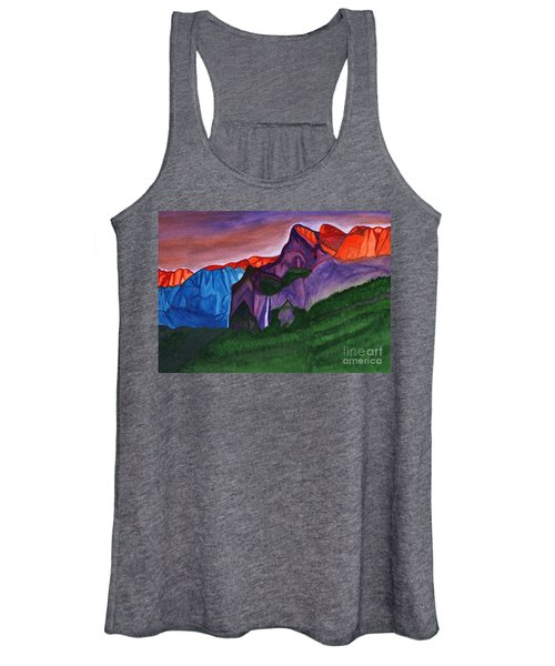 Snowy Peaks Of The Mountains With A Waterfall Lit Up By The Orange Dawn Women's Tank Top