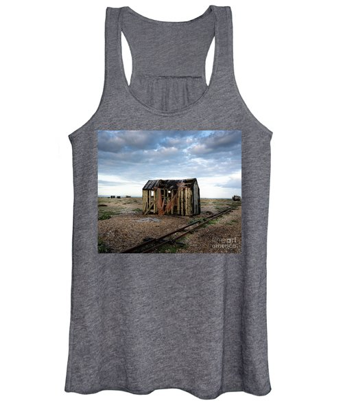 Women's Tank Top featuring the photograph The Net Shack, Dungeness Beach by Perry Rodriguez