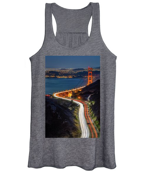 Traffic Racing Over The Golden Gate Bridge Women's Tank Top