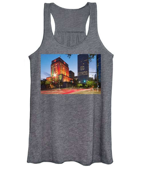 Twilight Photograph Of Houston City Hall Astros Baseball World Series 2017 - Downtown Houston Women's Tank Top