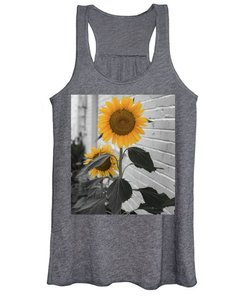 Urban Sunflower - Black And White Women's Tank Top