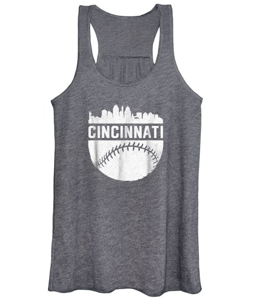 Vintage Downtown Cincinnati Ohio Skyline Baseball T-shirt Women's Tank Top