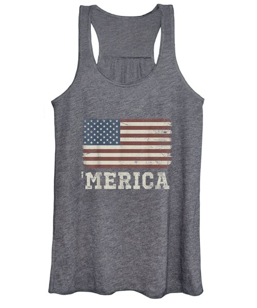 Vintage Usa Flag 'merica T-shirt Women's Tank Top