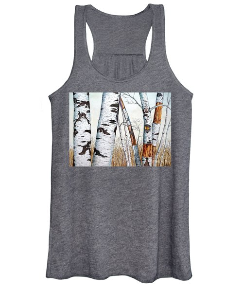 Wild Birch Trees In The Forest In Watercolor Women's Tank Top