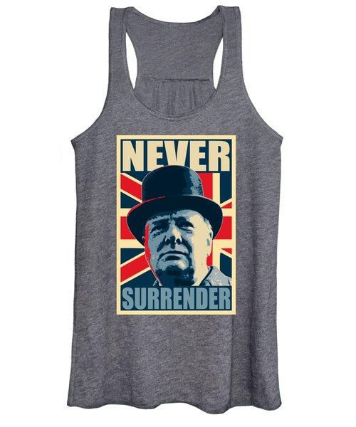 Winston Churchill Never Surrender Women's Tank Top