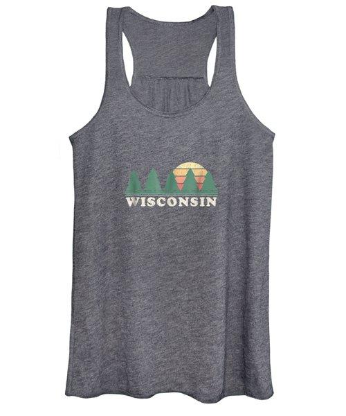 Wisconsin Wi T-shirt Vintage Graphic Tee Retro 70s Design Women's Tank Top
