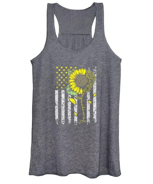 You Are My Sunshine Sunflower Mx Motocross Flag T-shirt Women's Tank Top