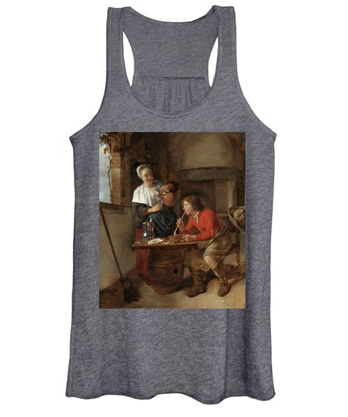 Young Man Smoking And A Woman Pouring Beer Women's Tank Top