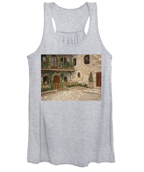 Greek Courtyard - Agiou Stefanou Monastery -balcony Women's Tank Top