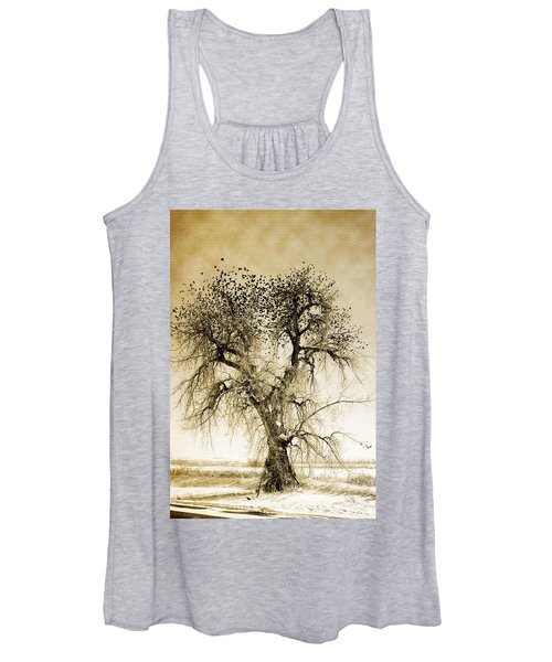 Bird Tree Fine Art  Mono Tone And Textured Women's Tank Top