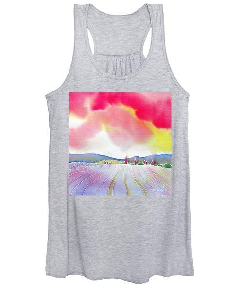 Sunset On The Lavender Farm Women's Tank Top
