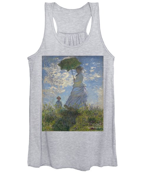 Woman With A Parasol Madame Monet And Her Son Women's Tank Top