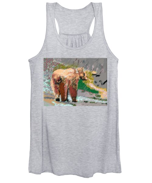 081914 Pastel Painting Grizzly Bear Women's Tank Top