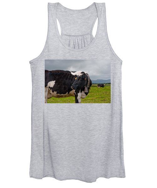 Cow Wearing Cowbell  Women's Tank Top