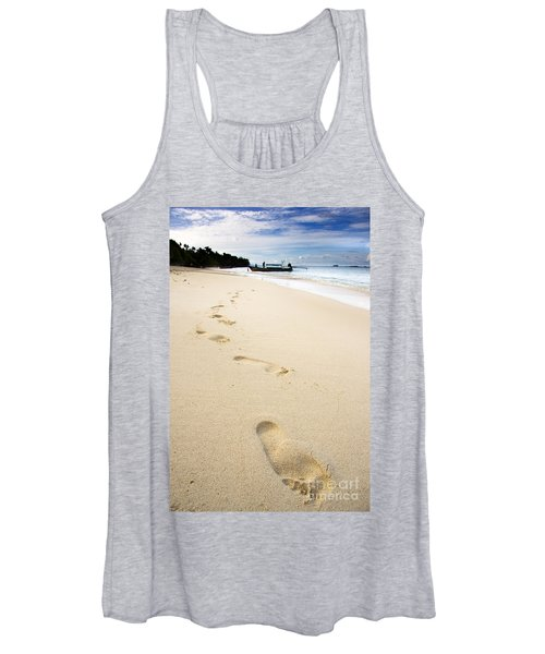 Footprints On Tropical Beach Women's Tank Top