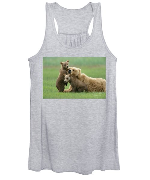 Grizzly Cubs Play With Mom Women's Tank Top