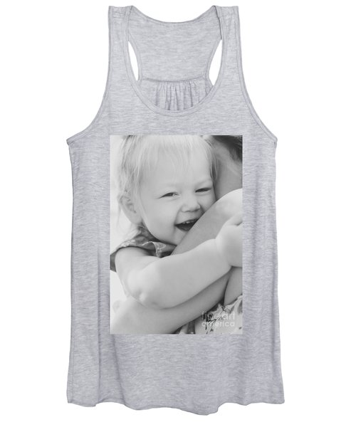 Hugging Mother And Daughter In Black And White Women's Tank Top