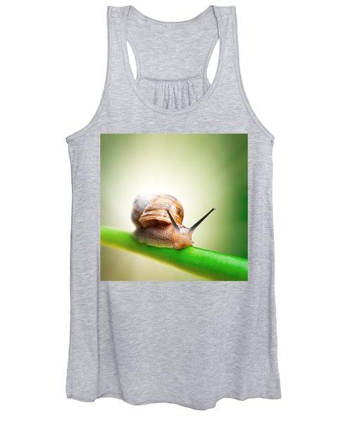 Snail On Green Stem Women's Tank Top
