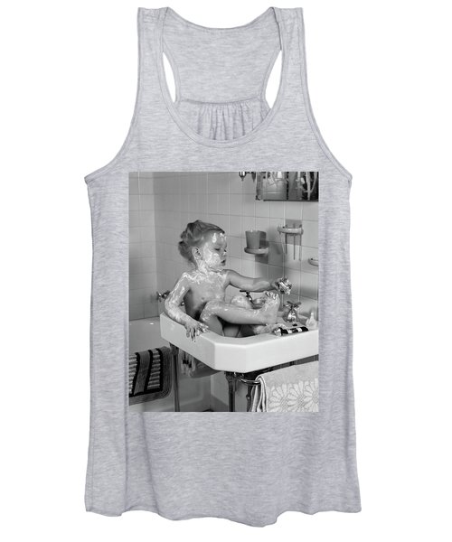 1940s Girl Sitting In Sink Lathered Women's Tank Top