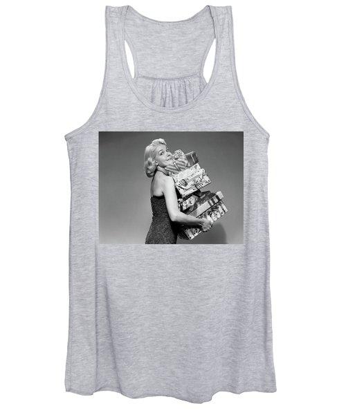 1950s Blond Woman Strapless Dress Women's Tank Top