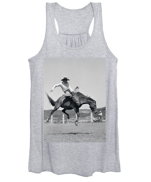 1950s Cowboy Riding A Horse Bareback Women's Tank Top