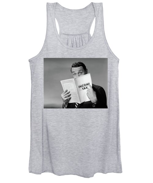 1950s Man In Suit Nose In Income Tax Women's Tank Top