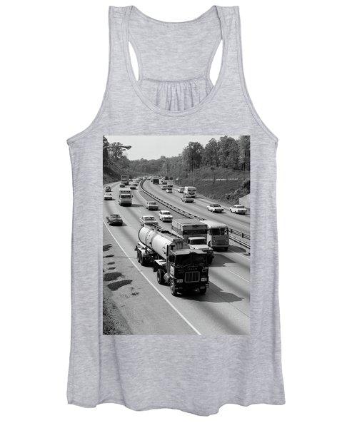 1960s Tanker Truck Traveling On Busy Women's Tank Top