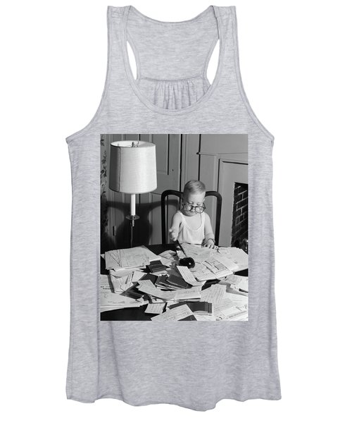 1960s Young Boy At Desk Wearing Glasses Women's Tank Top