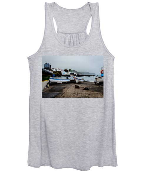 Fishing Boats On Wharf With View Of Houses  Women's Tank Top