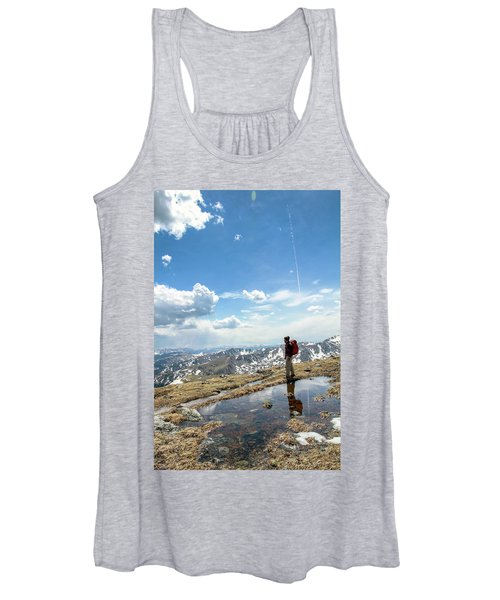 A Backpacker Stands Atop A Mountain Women's Tank Top