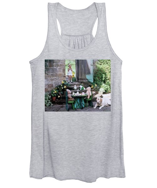 A Dog Sitting Next To Two Teddy Bears Having Women's Tank Top