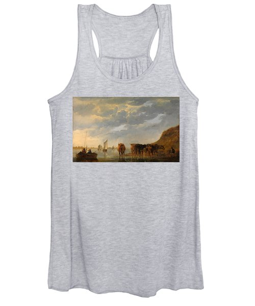 A Herdsman With Five Cows By A River Women's Tank Top