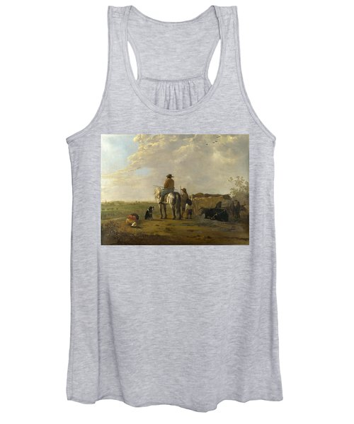 A Landscape With Horseman Herders And Cattle Women's Tank Top