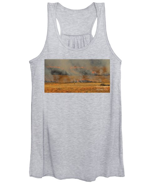 A Lone Firefighter On The Norbeck Prescribed Fire. Women's Tank Top