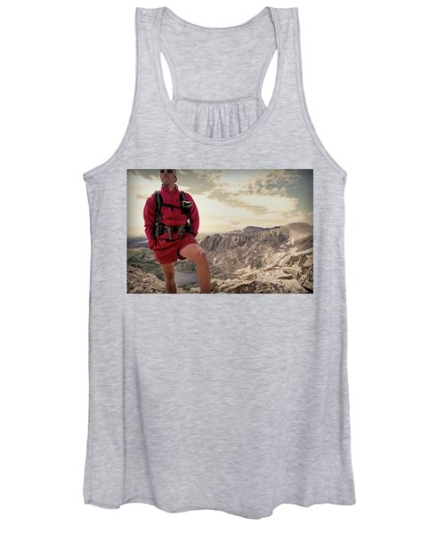 A Male Hiker Stops To Take In The Views Women's Tank Top