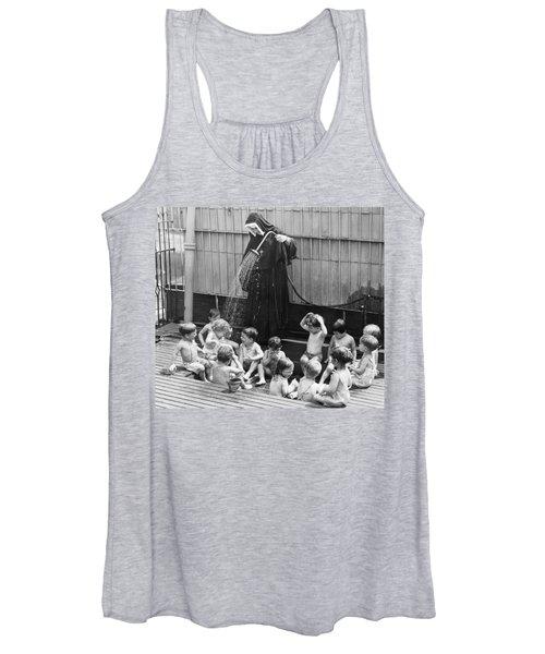 A Nun Watering Children Women's Tank Top