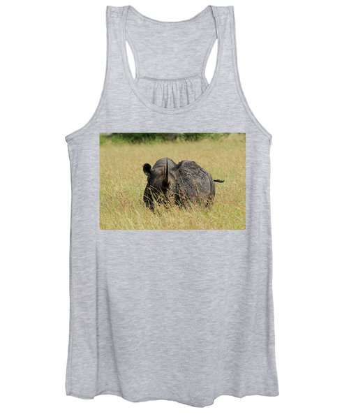 A Rhino Standing In The Grass Women's Tank Top