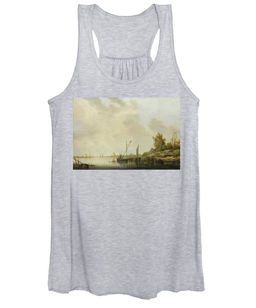 A River Scene With Distant Windmills Women's Tank Top